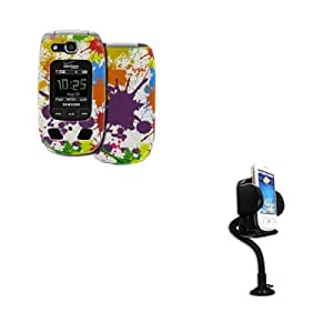 EMPIRE Samsung Convoy 2 U660 Rubberized Design Case Cover, White Paint Splatter + Car Dashboard Mount