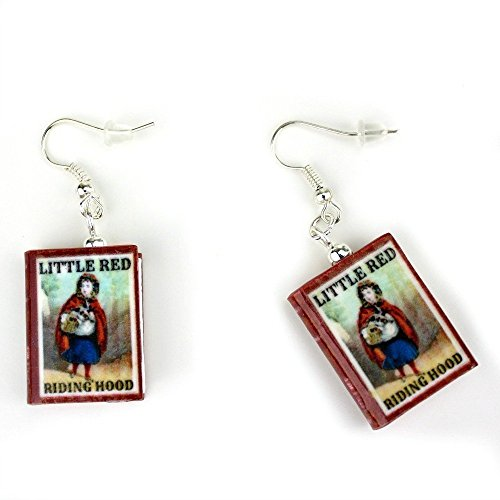 LITTLE RED RIDING HOOD Polymer Clay Mini Book Earring Pair by Book Beads Costume Jewelry Books