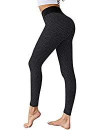 Women's Ruched Butt Lifting High Waist Yoga Pants Tummy Control Stretchy Workout Leggings Textured Booty Tights