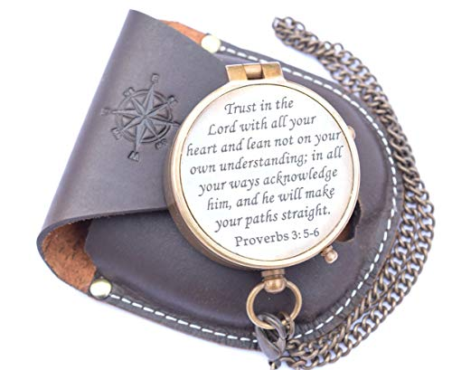 RIRHTAJUS Trust in The Lord with All Your Heart Engraved Compass, Proverbs 3: 5-16 Engraved Gifts, Confirmation Gift Ideas, Religious Gifts, Missionary Gifts -