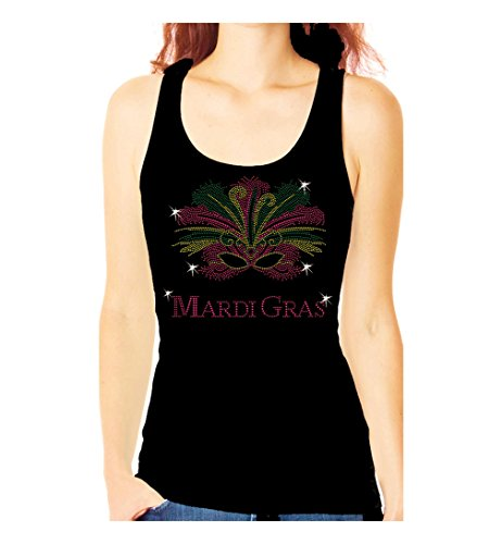 Mardi Gras Mask Rhinestone New Orleans Party Womens Tank Top Tee Shirt (XXL) Black
