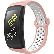 MoKo Band Compatible with Gear Fit2 / Gear Fit2 Pro, [2-Pack] Soft Silicone Multihole Replacement Sport Band for Samsung Gear Fit 2 SM-R360 / Fit 2 Pro SM-R365 Smart Watch - Pink & White