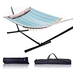 Garden and Outdoor Double Hammock with Stand, Ohuhu 2-Person Hammock with 12.8 FT Detachable Metal Stand, Portable 55″ x 75″ Quilted Fabric Hammock Swing with Strong Curved-Bar Bamboo & Pillow, Bonus 2 Carrying Bag hammocks