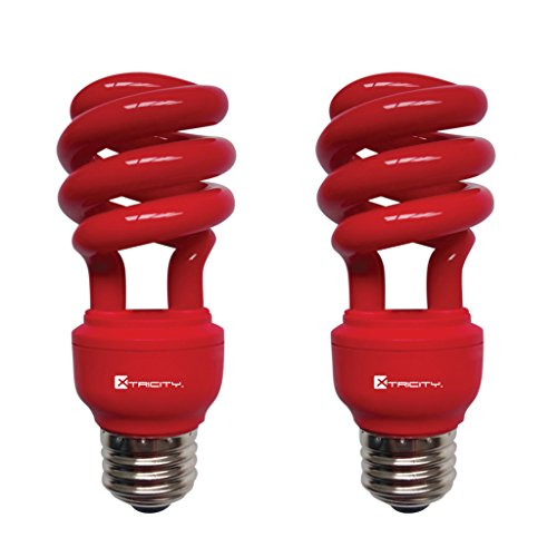 CFL Compact Fluorescent Colored Light Bulb, T2 Spiral, 13W (60 Watt Equivalent), E26 Medium Base, 120V, UL Listed, Red (2 Pack)