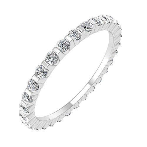 Diamond Gold Eternity White Ring - 14k White Gold Channel Set Eternity Diamond Band Ring (0.45 Carat)