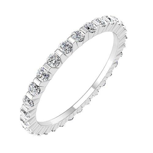 14k White Gold Channel Set Eternity Diamond Band Ring (0.45 Carat)