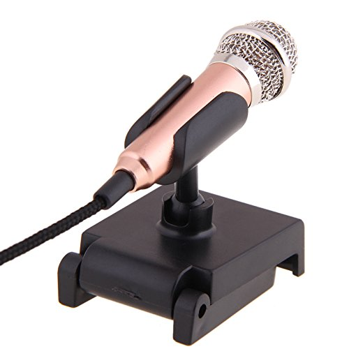 (Blue-Ocean-11 - Gold mini 3.5mm Pocket Size Multimedia Clip Mic Microphone with mic stand for PC Laptop Desktop Studio Speech skype)