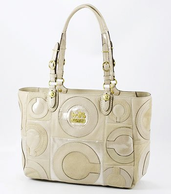 Coach Limited Edition Mia Inlaid Suede Gallery E/W Bag Tote 15748 Natural, Bags Central
