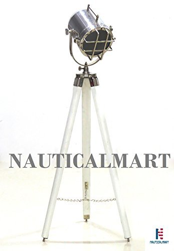 39'' Nautical Spot Marine Antique Look Designer Search Light W/white Wooden Tripod Stand by NAUTICALMART