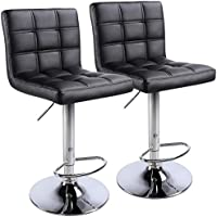Set of 2 Yaheetech Swivel Modern PU Leather Bar Stools