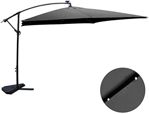 Concept-Usine Solenzara Parasol con luz LED excéntrico 3 x 3 m, gris: Amazon.es: Jardín