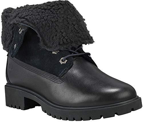 Timberland Women's Jayne Waterproof Teddy Fleece Fold Down Fashion Boot, Black Full Grain, 7.5 M US ()