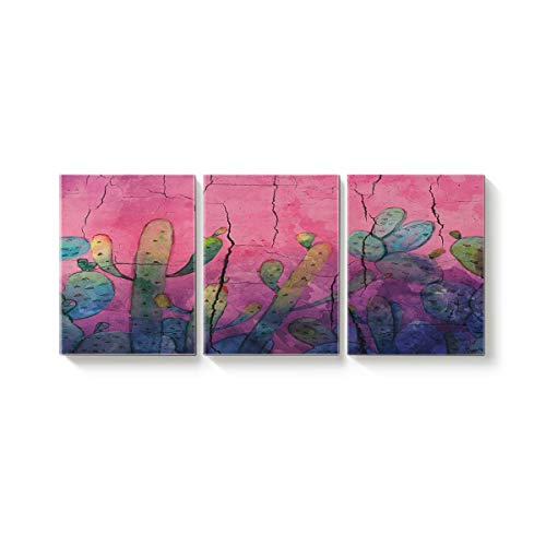3 Piece Canvas Wall Art Oil Painting Home Art Decor,The Crackle Wall Pattern of Cactus Pictures Artworks for Office,Stretched by Wooden Frame,Ready to Hang,20x24inx3 Panels (Votive Definition)