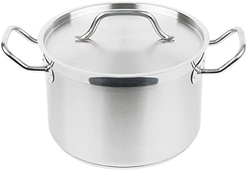 Royal Industries Classic Stock Pot with Cover, 8 qt, 9.4 x 6.3 HT, Stainless Steel, Commercial Grade – NSF Certified