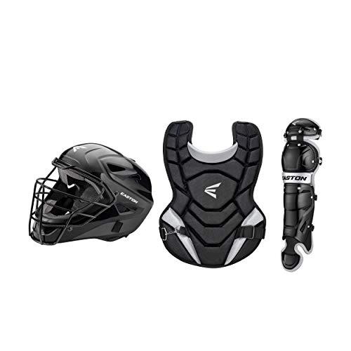 EASTON BLACK 2.0 Youth Catchers Protective Box Set | Youth Age 9-12 | 2020 | Black | Helmet Small 6 1/8 - 7 inch Hat Size| 14 inch Chest Protector | 12 inch Leg Guards | Dual Density Foam | Steel Cage
