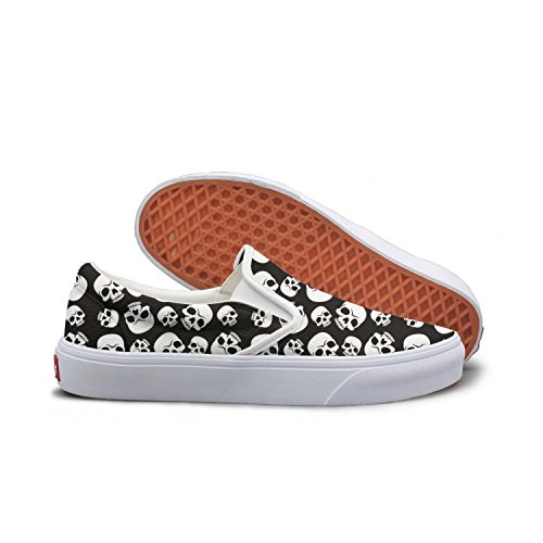 SEERTED Skull Happy Halloween Canvas Shoes Women -
