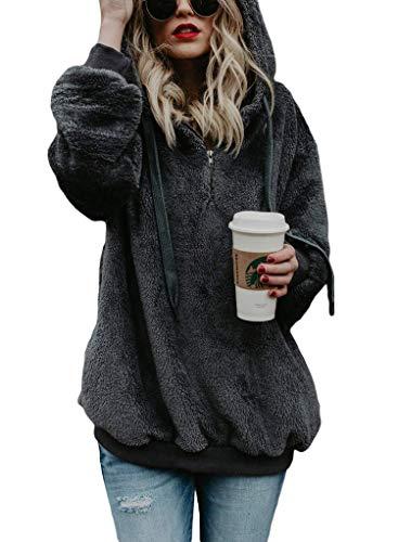 Plus Size Autumn Winter Hoodie Sweatshirt Women 2018 Casual Loose Long Sleeve Sweatshirt Female Plush Hoody Pullover 5XL,Dark Grey,5XL ()