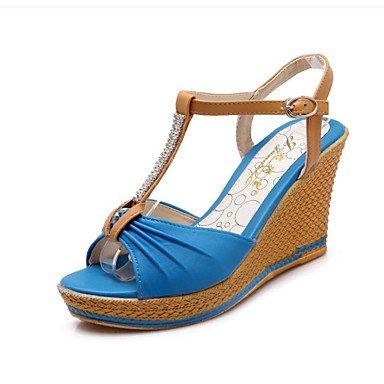 LvYuan Mujer-Tacón Cuña-Otro-Sandalias-Vestido-PU-Azul Almendra Verde Oscuro almond