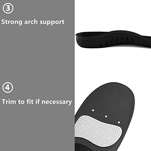 Hyperspace Sports Insole for Gel High Arch Support Shoe Inserts Plantar Fasciitis Orthotic Inserts Maximum Comfort and Shock Absorption for Flat Feet and Injury Prevention (Black XL) by Hyperspace (Image #4)