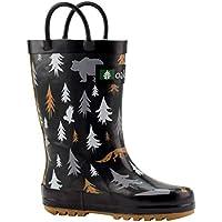 Oakiwear Kids Waterproof Rubber Rain Boots with Easy-On Handles