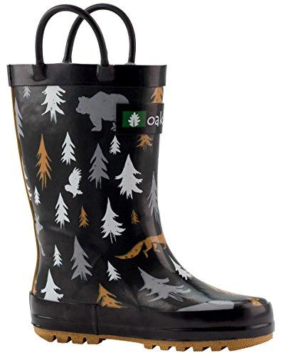 Oakiwear Kids Rubber Rain Boots With Easy-on Handles, Wildlife Tracker, 4Y US Big Kid - Image 10