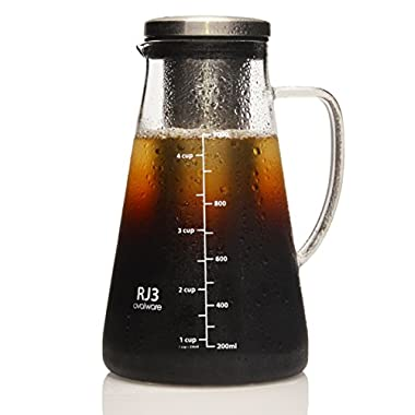 Ovalware RJ3 Airtight Cold Brew Iced Coffee Maker and Tea Infuser - 1.0L Brewing Glass Carafe with Removable Stainless Steel Filter