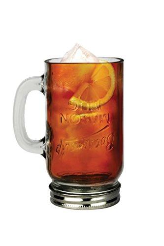 Barbuzzo Mason Jar Bottoms up Mug - Quirky Upside-Down Mason Jar Mug That Makes a Fun Gift for Any Mason Jar Lover and a Great Conversation Starter -