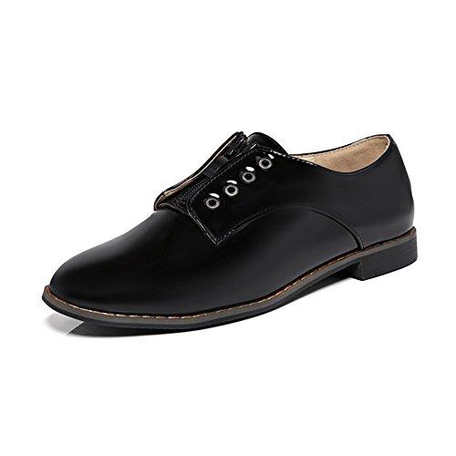 SendIt4Me Flat Slip on Shoes with Lace Holes Black V7iBwYmaR