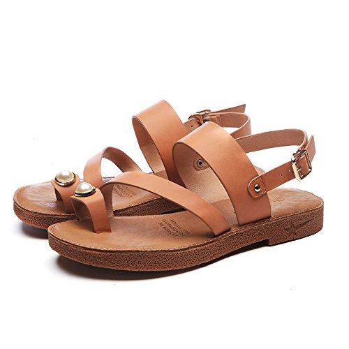Sandalias EU38 Naranja Correa Mujer de Verano Zapatos de Tamaño con Cream Slipper Tacón 5 Plana White bajo CAICOLOR Color Roma Hebilla UK5 de Señoras CN38 Verano xz1w4176Aq