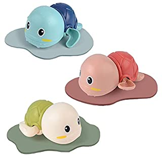 WORKER 3 Pack Baby-Bath-Toys for Toddlers 1-3 Wind-up Bathtub Toys Fun Bath Time Turtle Pool Playset for Boys and Girls