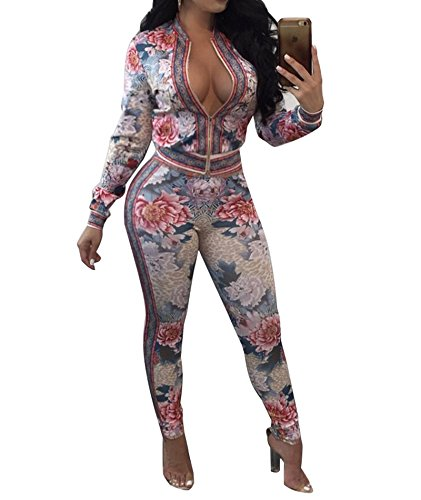 IyMoo Women's Floral Suits Long Sleeve Blazers with Long Pants Suiting Blazers Jacket Uniform White XX-Large