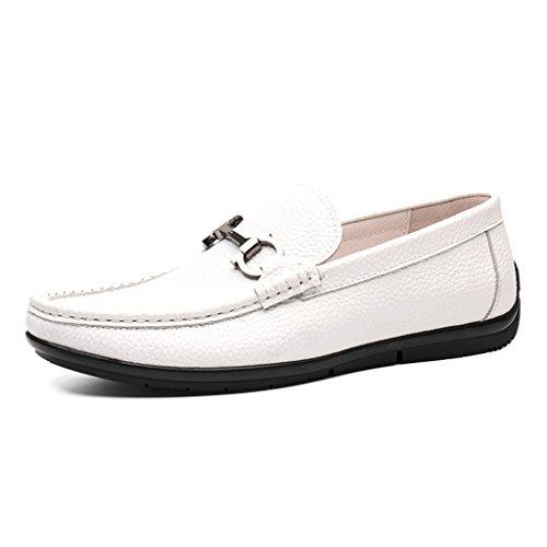 HWF Scarpe Uomo in Pelle Primavera scarpe in pelle da uomo piselli scarpe a testa rotonda in morbida pelle scarpe casual traspirante marea scarpe pigro bianco (Colore : Nero, dimensioni : EU43/UK8) Bianca
