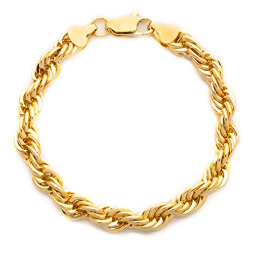 Lifetime Jewelry Rope Bracelet 7MM, Diamond Cut, 24K Gold with Inlaid Bronze, Premium Fashion Jewelry, Resists Tarnishing, Guaranteed for Life, 9 Inches