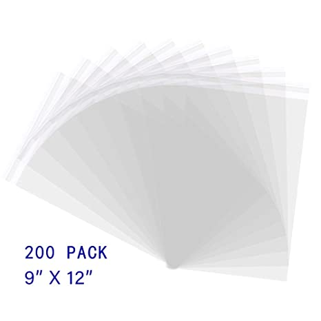 Novelinks 9 X 12 200 Pack Clear Resealable Cellophane Cello Bags Self Sealing Opp Plastic Cellophane Bags Fits Packaging Clothing Letter
