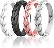 Zollen 7 Packs Olive Leaves Silicone Wedding Rings for Women, Rubber Wedding Bands Stackable Ring, Hypoallerge