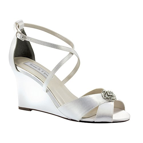 3' Heel Rhinestones (Touch Ups Women's Mickey Wedge Sandal,White Satin,7.5 M US)