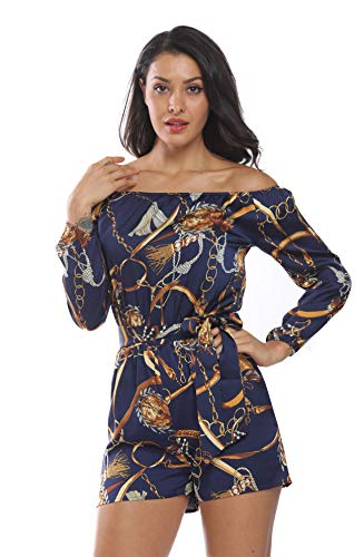 - MISS MOLY Women Playsuit Short Romper Jumpsuit Off The Shoulder for Lady Summer Rompers Playsuits 3/4 Sleeves-Royal Blue M