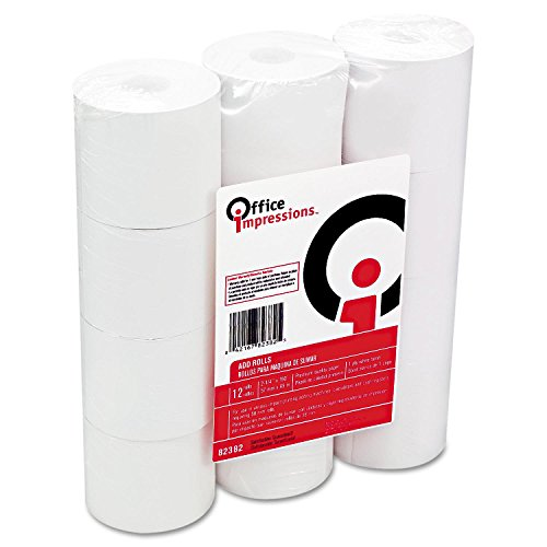 Office Impressions Calculator Plain Paper Rolls, 2.25 Inches Width x 150 Feet Length, White, 12 per Pack (82382) - Adding Machine Tape
