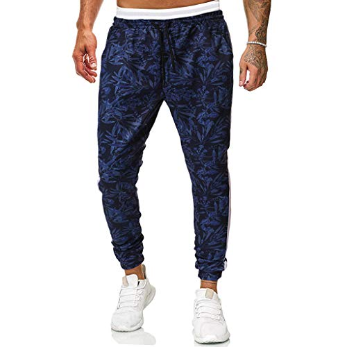 Pants for Men Elastic Waist Relaxed-fit Long Trouser Fashion Print Jogger Drawstring Sweatpants Blue