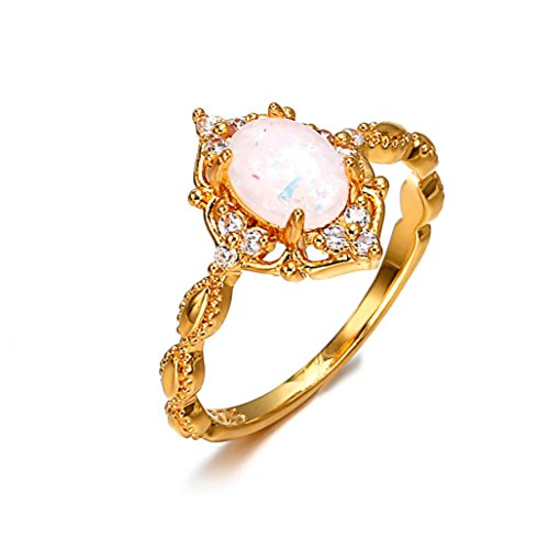 - Pocciol 2018 Newly Women Solitaire Created Fire Opal Rings Round Shaped Party Club Simple Ring Jewelry (Gold, 8#)