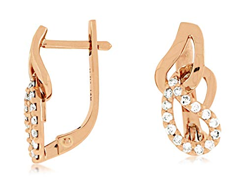 Milano Jewelers .32CT Diamond 14KT Rose Gold 3D Classic Love Knot LEVERBACK Earrings