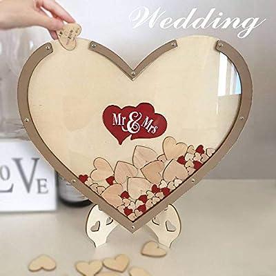Gxsqlw Wood Hearts Wedding Guest Book Alternative Heart Drop
