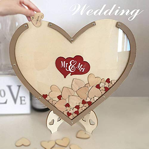 (GXSQLW Wood Hearts Wedding Guest Book Alternative, Heart Drop Guest Book Rustic Wooden Love Heart Wedding Table Scatter Decoration Crafts, for Wedding)