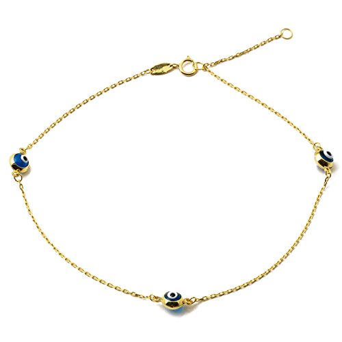"""LOVEBLING 10K Yellow Gold .5mm Rolo Chain With Evil Eye Charms Anklet Adjustable 9"""" To 10""""  45"""