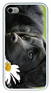 Black Dog With White Flower Custom Rubber(TPU) white Case for iphone 4 case or iphone 4s case by Cases & Mousepads