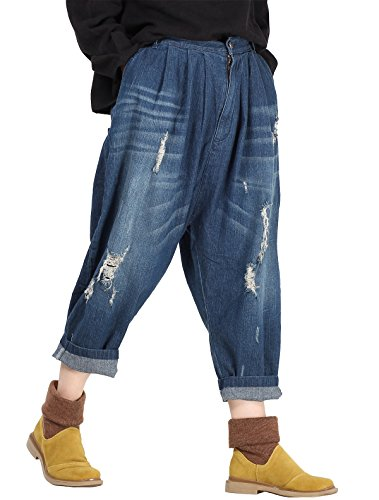 Vogstyle Mujeres Nueva Ripped Jeans moda colapso harén pantalones con bolsillos Style 2-Blue