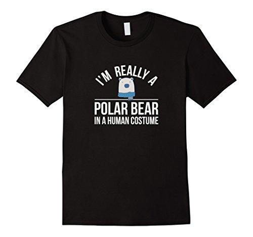 Mens I'm Really a Polar Bear - In a Human Costume - T-shirt Large (Black Bear In Polar Bear Costume)