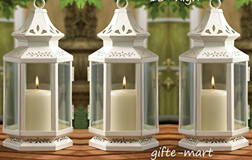 (15 White Colonial Western Stagecoach Lantern Candle Holder Wedding Centerpiece Decorative Centerpieces for Living Dinning Room Table Decoration, Wedding Gifts)