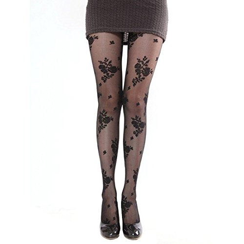 - Women's Sheer to Waist Line Floral Patterned Tights Pantyhose Tattoo Tights (YH001-A)