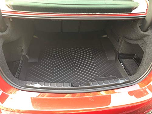 (TRUNK CARGO TRAY BOOT FLOOR PROTECTION FROM DIRT MUD SNOW ALL WEATHER SEASON WATERPROOF WATER-RESISTANT LASER MEASURED CUSTOM FIT LINER PAD MAT for BMW 3-Series F30 F31 M3 F80 SEDAN (BLACK) BRAND NEW)